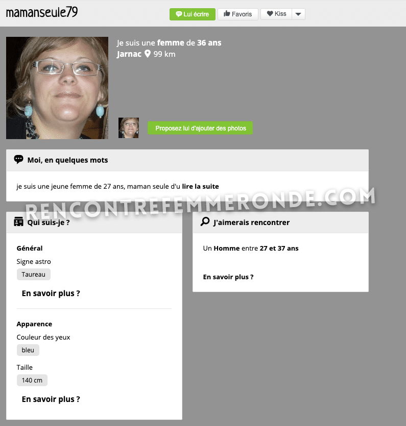 Profil d'une femme ronde inscrite sur J&M Rondes